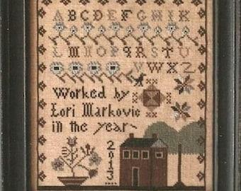 My Little Sampler - Cross Stitch Pattern by LA~D~DA - Lori Markovic - Red House - Alphabet Sampler - ABC - Sampler Motifs