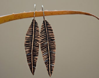 COUPON IN SHOP - Tattered Palm Leaf Earrings - Copper and Sterling Silver - Palm Fronds - Dangle Earrings - Spring Fashion - Beach -