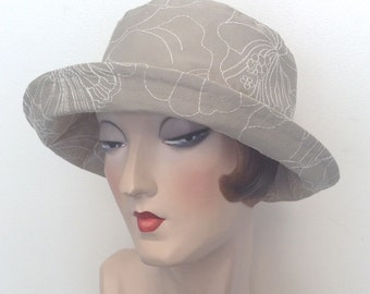 Sale. La Boheme, fabric sun hat, travel hat, cotton hat, embroidered.