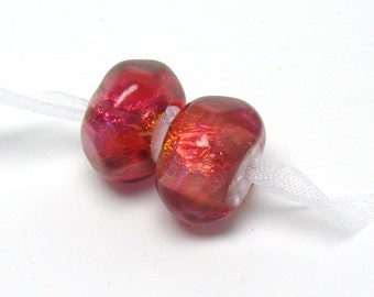 Lampwork bead pair, ruby nuggets, pomegranate pink lampwork, bright pink beads, ruby lampwork beads, poppy lampwork beads
