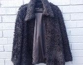 Black Shaggy Club Kid Coat Raver S/M Jacket Fluffy 90's Party AZIZ