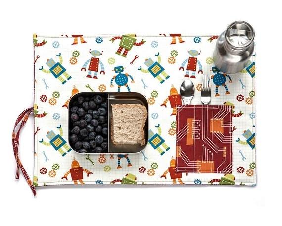 Travel placemat, robots design, organic lunchbox set in blue, orange