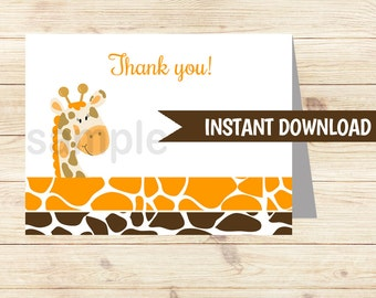 Orange Giraffe Folded Thank you notes INSTANT DOWNLOAD bs-032