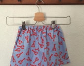 READY TO SHIP Handmade toddler girl skirt size 18/24m nautical lobsters red blue
