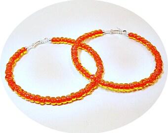 Orange Hoops, Giant Hoops, Orange Yellow Earrings, Pirate Hoops, Orange Earrings, Summer Fashion, Summer Accessories, Big Hoop Earrings