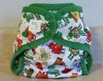 Medium PUL Diaper Cover with Leg Gussets- 10 to 20 pounds- Robots- 22003