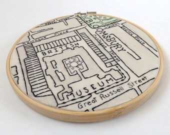 British Museum, London Vintage Victorian Map - 6 Inch Hand Embroidered Hoop Art with Wooden Frame