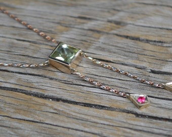 Diopside and Burma Spinel Lariat Style Necklace in 14 Kt White and Rose Gold