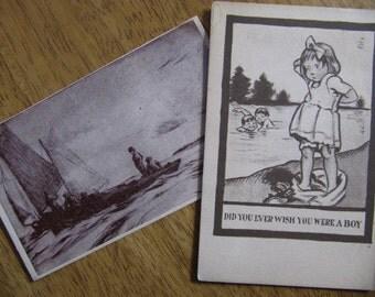 Vintage Postcards Franklin Townsend Morgan Fishermen or Children Swimming Art Prints
