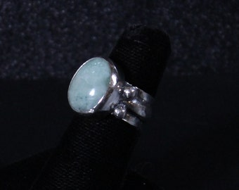 Sterling silver and emerald cabochon ring with Wide band