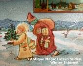 Three Magic Lantern Slides. Christmas and Winter Time Antique German Magic Lantern Slides. Very Old Glass Slides.