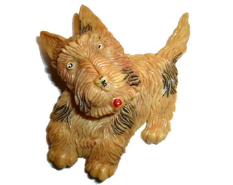Celluloid Scotty Dog Pin With Moveable Head. Made In Japan. 1940s. Large Early Plastic Brooch.