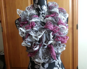 Handmade Knit Infinity Frill Ruffle Scarf in Pink, white and grey  tones
