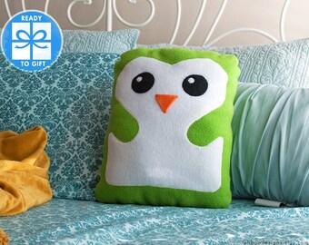 Green Decorative Pillow  - Penguin Pillow - Home Decor - Bird Shaped Pillow - Gift for Children - Baby Room Decor - Cute Gift - Ships Fast!
