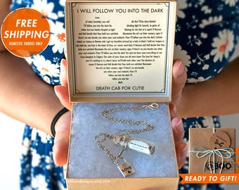 Love Song in a Bottle Necklace - I Will Follow You Into The Dark - Death Cab For Cutie - Anniversary Birthday - Gift Wrapped Ships Fast!