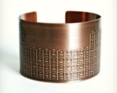 COPPER CUFF BRACELET - Periodic Table of Elements - Handmade - Graduate Gift - Can Be Personalized with Your Own Designs or Text!