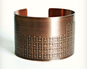 ETCHED PERIODIC TABLE Cuff - Solid 18 Gauge Copper, Handmade - Graduate Gift -