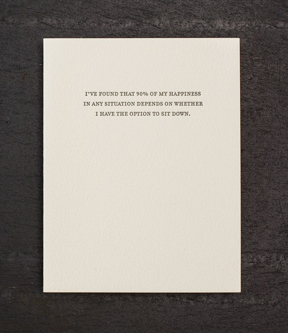 option to sit. letterpress card. #818