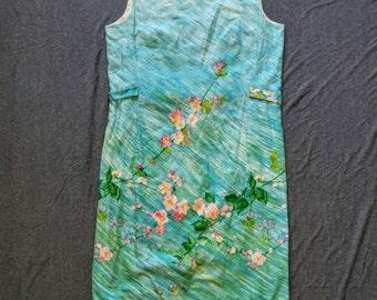 Blue Watercolor Floral Vintage 60s Shift Dress