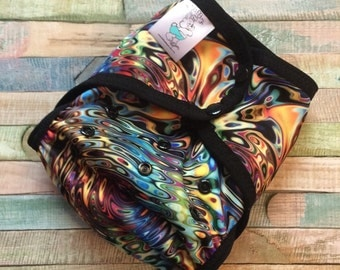 Blown Glass Polyester PUL Cloth Diaper Cover With Aplix Hook & Loop Or Snaps You Pick Size XS/Newborn, Small, Medium, Large, or One Size