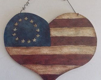 Flag Heart, Flag Wall Art, USA Flag, American Flag Decor, Patriotic Flag Art, USA Flag, Appliqued Heart, Antiqued American Flag,