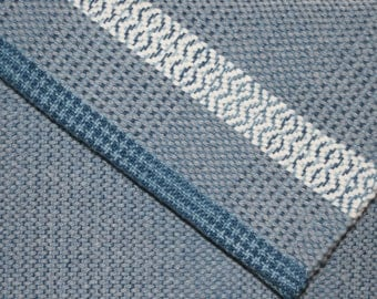 Gray Handwoven Towel - Hand Woven Hand Towel in Grey and White - Kitchen Towel