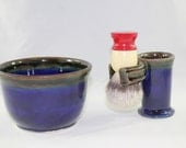 Blue and Green Shave Bowl with Razor and Brush stand