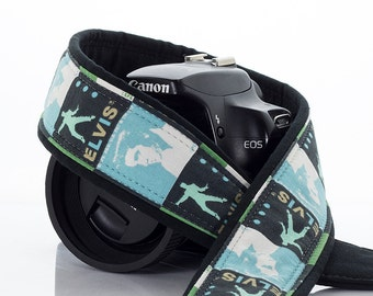 Elvis Camera Strap, dSLR, SLR, Baby Blue, Camera Neck Strap, Canon, Nikon,Pocket, Quick Release, Mens or Womens, Photography, 180