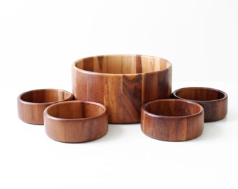 Modern Teak Salad Bowl Set - S/5