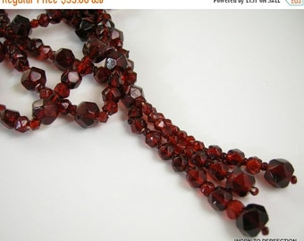 30% Off Sale Ruby Red Art Deco Flapper Beaded Necklace