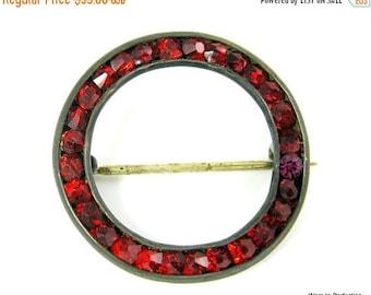 Love Yourself Sale Vintage Red Rhinestone Circle Pin