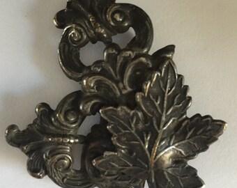 Vintage Brass Buckle Piece with Leaf Design