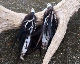 "Natural Feather Earrings - ""Edge of Winter"""