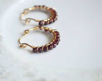 Rhodolite garnet and gold wire wrapped hoop earrings, garnet jewelry, small gold hoop earrings