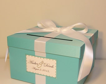 wedding card box blue gift card box money box holder customize your color small