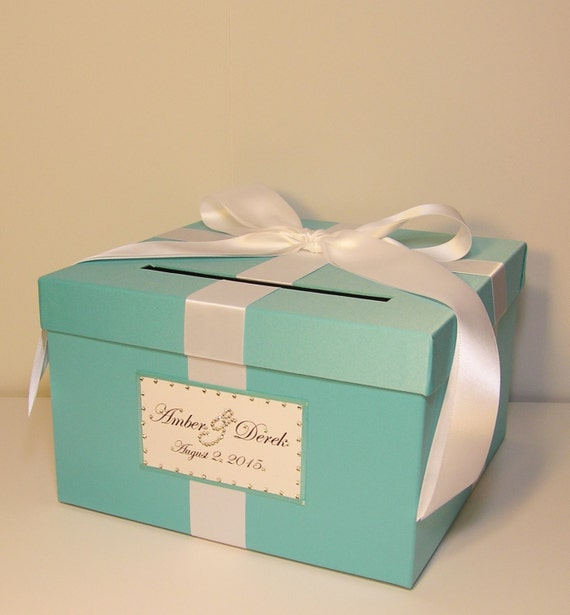 Wedding Card Box Blue Gift Card Box Money Box Holder-Customize your color (small size 10x10x6)