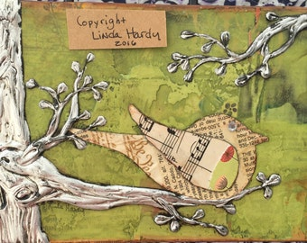 Mixed Media Bird Collage - Bird Artwork - Bird on a Branch