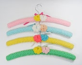 Crochet Covered Clothes Hangers Set of 4 Vintage Yarn Covered Wooden Coat Hangers
