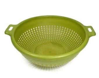 Colander Strainer Vintage Green Plastic Vintage Kitchenware