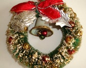 Vintage Bottle Brush Christmas Wreath, Gold Glitter, Glass Balls, Green, Red Bow, Bell, Silver Leaves, Holiday Decor, Decoration  (174-16)
