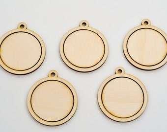 "1.5"" Embroidery Hoop Round Circle Pendants with Round Connector Large 38mm Laser Cut from Birch Wood EHPCIR-38-B"