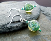 Dragon Egg lampwork earrings, green earrings, dragonskin earrings, sterling silver, silver earrings