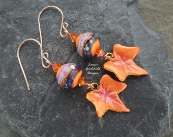 Flame lampwork earrings, leaf earrings, orange and purple earrings, autumn earrings, fall earrings, nature inspired