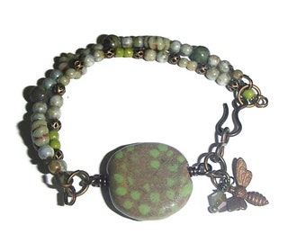 Kazuri Bead Bracelet  Boho Jewelry Artisan Made Bees OOAK Unique