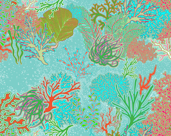 Coral Reef Fabric by Hollyce Jeffriess