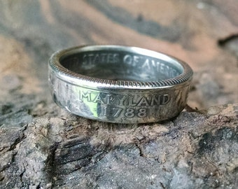 Maryland Quarter Ring - Coin Ring 2000 Quarter Dollar Coin Ring - Size: 7 1/2