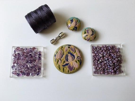 Purple Iris Partially Beaded Kumihimo Necklace Kit, Free Canvas Tote, Tutorial Sold Separately
