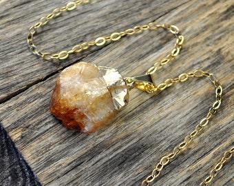 Valentine SALE - Citrine Necklace, Citrine Pendant, Citrine Gold Necklace, Raw Citrine Point Necklace, 14k Gold Fill Chain