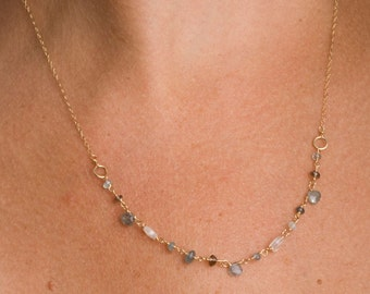 Gemstone Necklace, Gemstone Jewelry, Layering Necklace, Delicate Necklace, Gift for Her, Gift for Wife, Fine Jewelry, Moss Aquamarine, Gold