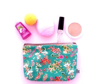 Small Cosmetic Bag - Cottagely Posy - makeup case, make up bag, zipper pouch, project bag,